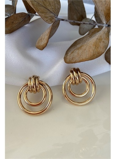 My Joyas Design Özel Seri Üçlü Geçişli Daire Küpe Altın